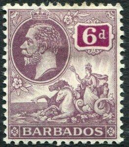 BARBADOS-1912 6d Dull Purple & Purple Sg 177 MOUNTED MINT V33818