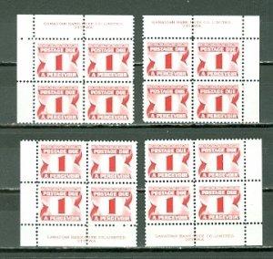 CANADA 1973 DUES #J28i IMPRINT CORNERS SET..PERF. 12.. PVA GUM MNH...$10.00
