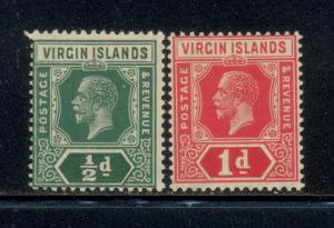 British Virgin Islands 47 & 48 w/multiple script CA & crown wm - mnh George V