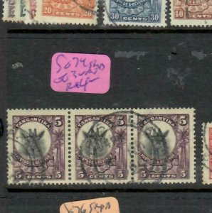TANGANYIKA  (P2305B)  GIRAFFE  5C  STRIP OF 3      SG 74 DAR ES SALAAM      VFU