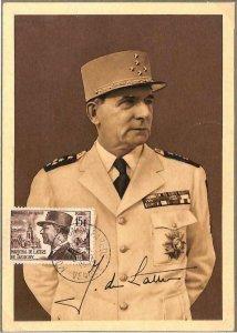 90129 - FRANCE -  MAXIMUM CARD 1952 - Jean de Lattre de Tassigny - Politics