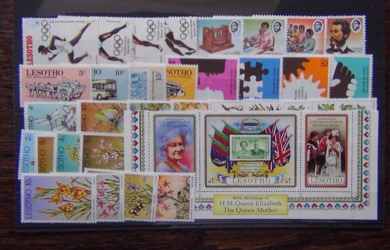 Lesotho 1972 1980 sets Olympics Insects Trees Flowers Queen Mother Racism MNH