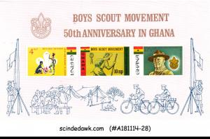 GHANA - 1967 50th ANNIVERSARY OF BOY SCOUT MOVEMENT MIN/SHT - MINT NH IMPERF!!!!