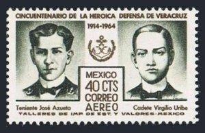 Mexico C284 block/4,MNH.Michel 1171. 1964.Lt.Jose Azueta,Cadet Virdilio Uribe.