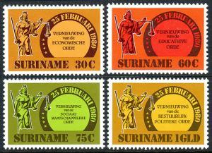 Surinam 568-571,MNH.Government renovation.Economic,Social,Political Orders,1981