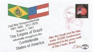 VERY LAST 1 AUG 1860 Empire of Brazil Recognizes the Confederacy #5 of 5 Cover
