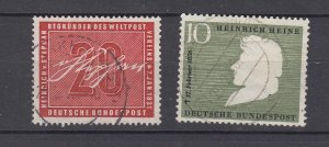 J28708, 1956 germany sets of 1 used #738,740 designs