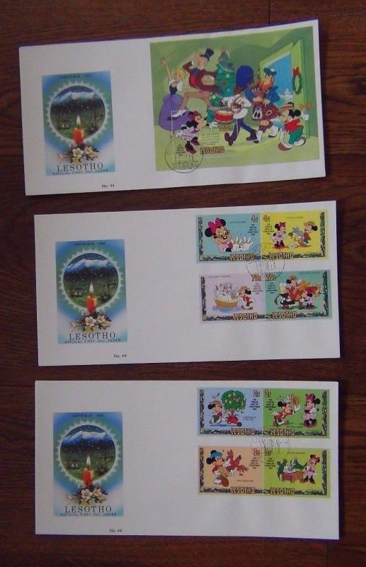 Lesotho 1982 Christmas Walt Disney set & M/S on First Day Cover 3 Covers