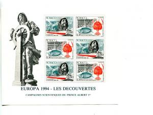 Monaco 1994 Europa mini sheet   Mint VF NH