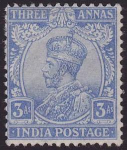 INDIA 1922-33 GV 3a blue SG209 fine mint....................................6342