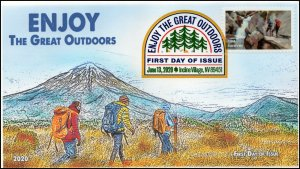 20-111, 2020, Enjoy the Great Outdoors, Digital Color Postmark, FDC, Hiking