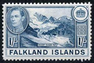 Falkland Islands SG158b 1/- Dull Blue (Greyish Paper) Wmk Mult Script CA M/M