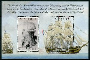 Nauru Ships Stamps 2005 MNH Battle of Trafalgar 200th Admiral Villeneuve 2v M/S