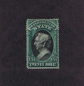 SC# O71 UNUSED PART OG $20 OFFICIAL STAMP, DEPT OF STATE, 1873, 2020 PSAG CERT