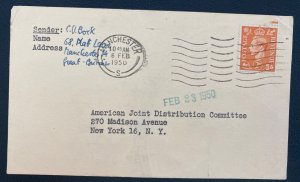 1950 England Acknowledge Card Cover To American Joint Distribution Committee Usa