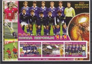 Somalia, 2002 Cinderella issue. World Cup Soccer, IMPERF sheet. USA Team shown.