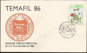 J) 1986 PERU, PERUVIAN PHILATELIC ASSOCIATION, TROPAELUM MAJUS L., FLOWER, FDC