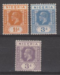 NIGERIA 1921 KGV 11/2D AND 3D BOTH COLOURS WMK MULTI SCRIPT CA