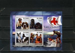 ST.THOMAS & PRINCE ISLANDS 2008 RESCUE DOGS SHEET OF 4 STAMPS MNH