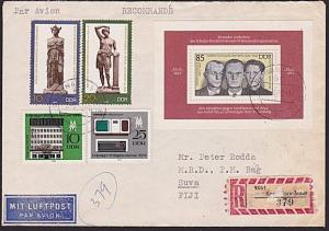EAST GERMANY TO FIJI 1983 registered cover - nice franking..................5952
