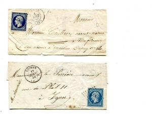France   2  letter covers  with different stamps  -    Lakeshore Philatelics