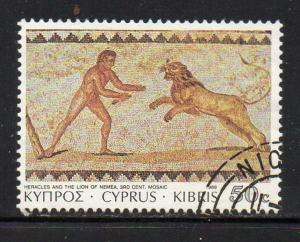 Cyprus Sc 749 1989 50c Hercules Lion stamp used