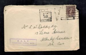1943 Royal Australia Air Force PO RAAF Cover to Allenby Gardens