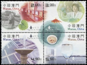 Macao. 2015. Water and Life (MNH OG) Block of 4 stamps