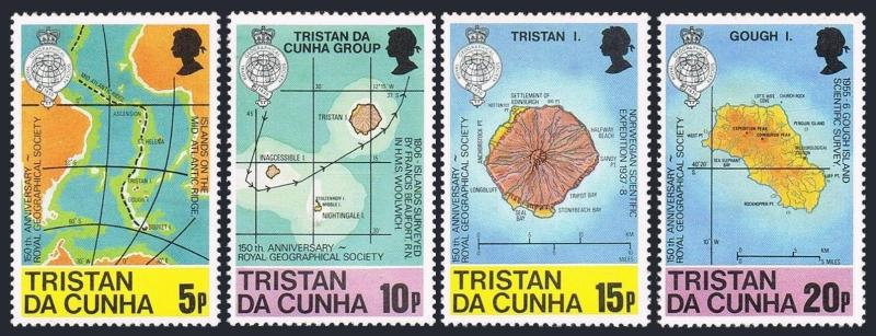 Tristan da Cunha 283-286,MNH.Michel 293-296. Geographical Society,150,1980.Maps