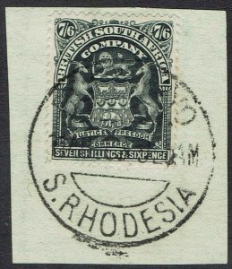 RHODESIA 1898 ARMS 7/6 USED ON PIECE