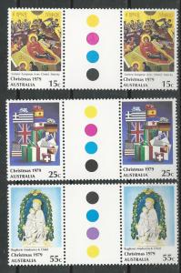 Australia # 719-21  Christmas 1979   GUTTER PAIRS  (3)  Mint NH