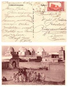1926 TUNISIA SINGLE ON POST CARD TO SWITZERLAND  ( Postal History ), 1926