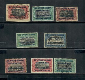 1916 BELGIAN CONGO x8   OCCUPATION OF GERMAN EAST AFRICA USED AND UNUSED