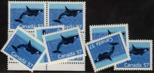 Canada USC #1173 Mint VF-NH 1988 57c Killer Whale (10) Inc. Block