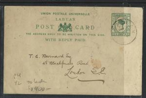 LABUAN COVER (P0804B) QV 3C PSC 1894 P4 1/2 SENT TO LONDON WITH MSG