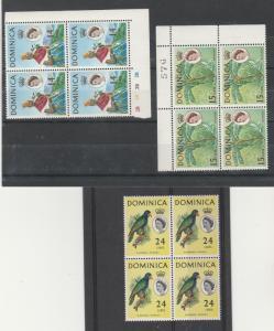DOMINICA 1963 QEII PICTORIAL 14C 15C AND 24C MNH ** BLOCKS