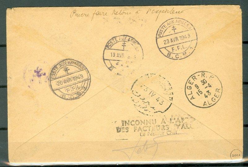 SYRIA RARE 1943  #MC6  MILTARY COVER with RETURN TO ORIGINAL SENDER