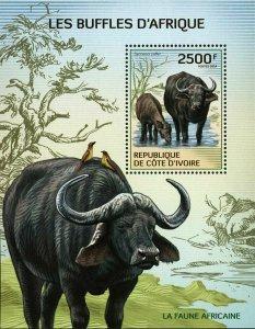 Buffalos Stamp Syncerus Caffer Wild Animal S/S MNH #1588 / Bl.204