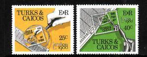 Turks & Caicos-Sc#431-2-unused NH set-London 1980-Stamp on Stamp-