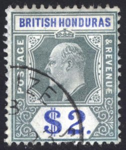 Br Honduras 1907 $2 Green & Ultramarine Scott 70 SG 92 VFU Cat $200