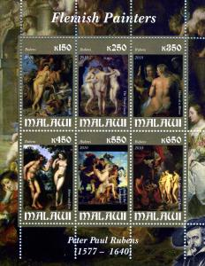 Paul Rubens NUDES Paintings Sheet (6) Perforated Mint (NH)