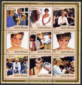 Guinea-Bissau MNH S/S Princess Diana 2001 9 Stamps