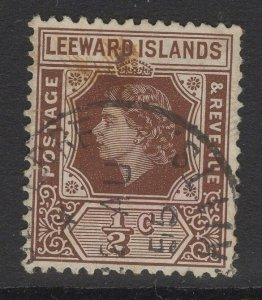 LEEWARD ISLANDS SG126 1954 ½c BROWN FINE USED