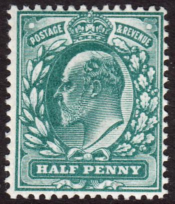 GB KEVII 1902 0.5d Blue-Green SG216 Mint Never Hinged MNH UMM