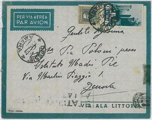 36502  COLONIE  - A.O.I. ERITREA: BUSTA POSTA AEREA da DESSIE a GENOVA 1938