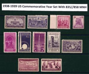 U.S. 1938 & 1939 Commemorative Year Set  # 835 ~ 858 11 MNH Stamps