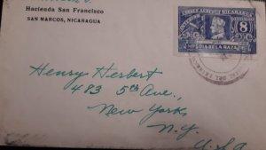 O) 1937 NICARAGUA, COLUMBUS, SC 218 - DOMESTIC POSTAGE, HACIENDA SAN FRANCISCO