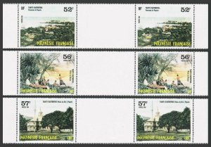 Fr Polynesia 433-435 gutter,MNH.Michel 449-451. Old Tahiti,1986.Fishing,Palace.