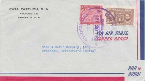 Panama 1c Curie Postal Tax and 20c Map 1950 Correos, Universidad Airmail to G...
