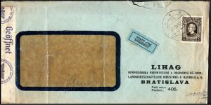 Slovakia 1940 SLOVENSKÁ POŠTA Bratislave Airmail with Geoffnet Censor Markings